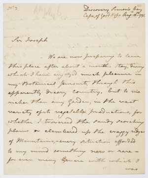 Series 61.13: Letter received by Banks from Archibald Menzies, 10 August 1791