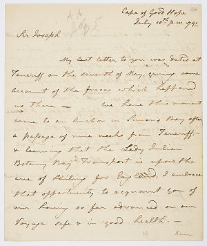Series 61.09: Letter received by Banks from Archibald Menzies, 10 July 1791