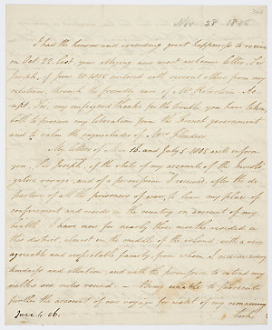 Series 65.37: Letter received by Banks from Matthew Flinders, 28 November 1805