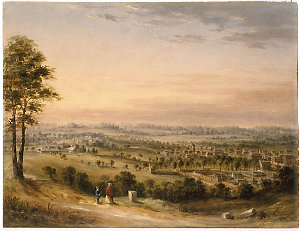 [View of the town of Parramatta from May's Hill, ca. 1840 / painting attributed to G. E. Peacock]