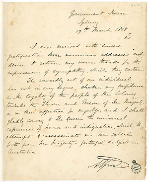 Alfred, H.R.H., Duke of Edinburgh - Documents concerning his Royal Tour and visit to Australia, 1868-1870