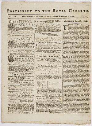 Series 89.02: 'Postscript to The Royal Gazette', 26 October - 2 November 1793