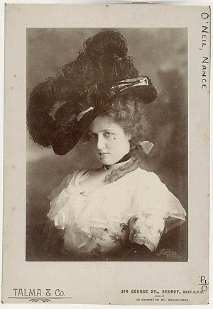 """Nance O'Neil as Peg Woffington [in the 1852 play by Charles Reade """"Masks and faces""""] / Talma & Co., 374 George St, Sydney, next G.P.O. and at 119 Swanston St., Melbourne [probably 1905]"""