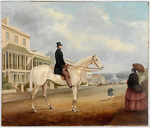 Stephen Butts on a white horse, Macquarie Street, Sydney, c.1850 / painted by Joseph Fowles