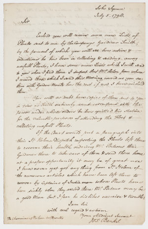Series 73.057: Copy of a letter received by the Chairman of the Court of Directors, Honourable East India Company from Banks, 5 July 1798