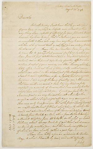 Series 38.03: Letter received by Banks from John Hunter, 20 August 1796