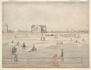 Hyde Park, St Mary's Cathedral and Belfry, 1842 / John Rae