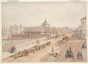 George St looking north, showing Jewish Synagogue, Police Offices, the Markets, old Burial Ground, now the site of the Town Hall, 1842 / John Rae
