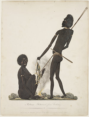 Natives returned from fishing, 1820 / drawn by R.Browne