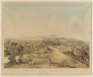 Adelaide, South Australia, North Terrace, ca. 1841 / by E.A. Opie, drawn on stone by J. Hitchen, S. Straker, lithographer