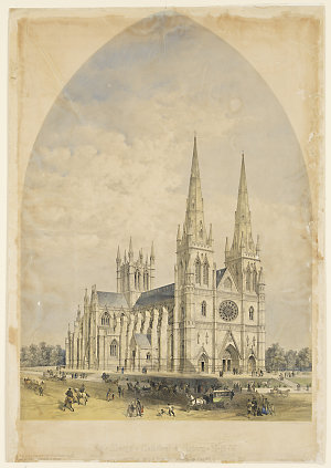 St. Mary's Cathedral Sydney N. S. W., 1866 / drawn by William Wilkinson Wardell, lithograph by Vincent Brooks, Day & Son
