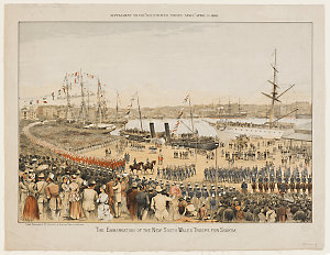 Embarkation of the New South Wales troops for Suakim, 1885 / by Charles H. Hunt, lithographed by Gibbs, Shallard & Co.