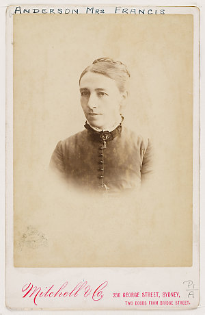 Mrs Francis Anderson [copy of a ca. 1880 photograph between 1889-1896] / photograph by Mitchell & Co., 236 George Street, Sydney