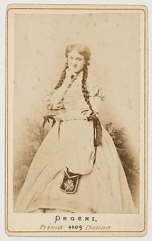 Mademoiselle Aglaja von Orgeni, prima donna as Marguerite in Faust, ca. 1870 / photographer P.