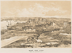 Sydney Cove [a view, including the Tank Stream, Fort Macquarie and sailing ships], 1842 / John Skinner Prout