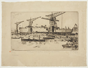 Item 06: Launching of H.M.A.S. Brisbane, Cockatoo Island, Sydney, 30th September 1915 / Sydney Ure Smith