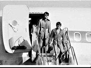 Pop group The Monkees arrive on a Qantas 707 flight, Mascot