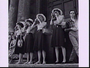 Pat Duggan, Norma Fleming, Betty Cuthbert and Norma Thrower photographing the Trevi Fountain while sightseeing during Rome Olympic Games 1960