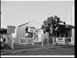 Steelock welded pipe fencing and Lasco pre-built steel frame building at the Sheep Show 1954, Sydney Showground