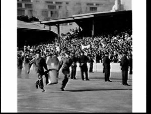 Anti-apartheid demonstration with arrests and smoke bombs during the South African Springboks Rugby Union tour, Sydney Cricket Ground