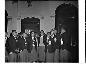 Mayor Jensen holds a civic reception for the Fiji Rugby Union XV team, Sydney Town Hall