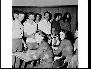 Building trades union volunteers vaccinated and briefed before trip to Darwin as relief workers for Cyclone Tracy, Trades Hall, Sydney