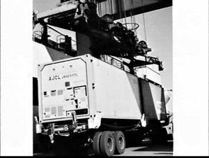 Loading Overseas Containers (OCL) and Australia Japan Container Line (AJCL) refrigerated containers onto the container ship Ariake, White Bay