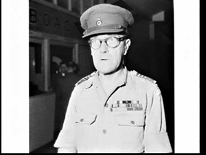 Portrait of Alfred Brown, Secretary-General of the Australian Red Cross (National Commissioner in 1955), in uniform and with medals, Mascot