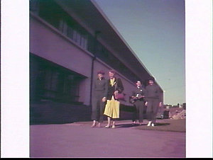Marlene Mathews, Women's Team Manageress Norah Morrison, Marlene Middlemiss and Val Lawrence outside their quarters at the University of British Columbia, British Empire and Commonwealth Games, 1954, Vancouver