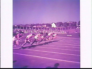 Far right, unidentified Australian in a men's sprint running race, British Empire and Commonwealth Games, 1954, Vancouver