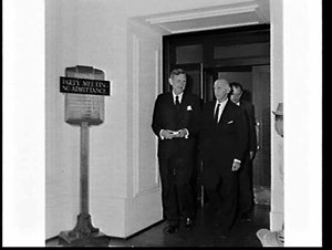 John Gorton elected (?) Prime Minister at a Liberal Party meeting, Parliament House, Canberra