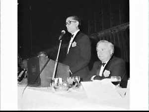 Chamber of Manufactures' Annual Dinner 1979, Wentworth Hotel, with guests Ian Sinclair and Doug Anthony