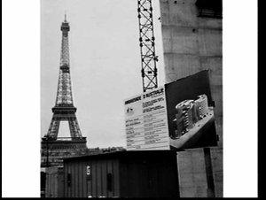 Australian Embassy (Ambassade d'Australie), Paris, (by Harry Seidler, advised by Marcel Breuer and Pier Luigi Nervi) under construction with the Eiffel Tower (la Tour Eiffel) in the background