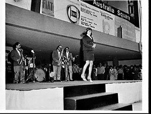 Singers and Italian ship's orchestra Lou Campara e i suoi ragazzi at Italian fiesta, Australia Square