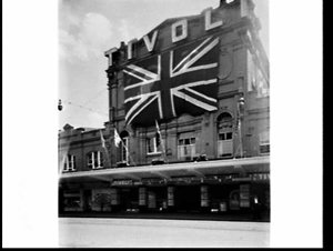 Tivoli Theatre decorated with large Union Flag (and showing the Tommy Trinder Show) for the Royal Visit, 1954