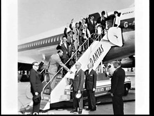 Rotary members board a BOAC jet for trip to Switzerland