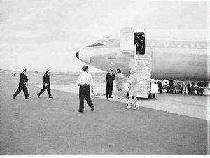 Arrival of Marlene Dietrich on Pan Am flight, Mascot