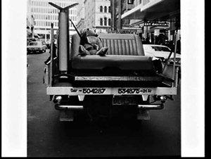 Teddy bear in a seatbelt on back of utility (publicity for seatbelt use), Barrack Street, Sydney