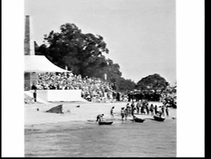 Queen Elizabeth, Governor Cutler and Premier Askin at the re-enactment of Cook's landing during the Bi-Centenary Cook Celebrations, Kurnell