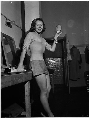June Sylvaine, English actress, in a dressing room at the Palladium