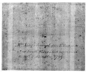 Anna Josepha King journal of a voyage from England to Australia in the ship 'Speedy', 19 November 1799-15 April 1800