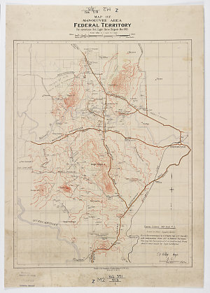 Map of manoeuvre area, Federal Territory [cartographic material] : for operations 3rd. Light Horse Brigade Mar. 1913.