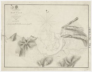 Hanalai Bay, on the north side of Atooi [cartographic material] : Sandwich Islands / by Commander E. Belcher, H.M.S. Sulphur ; published according to Act of Parliament at the Hydrographic Office of the Admiralty ; sold by R.B. Bate ; J. & C. Wallker, sculp.t.