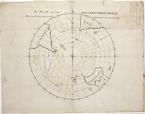 A map of the southern hemi-sphere shewing the discoveries made in the Southern Ocean up to 1770 [cartographic material] / James Cook.