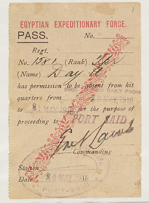 Leave passes issued to Trooper A. Day of the Australian Light Horse 1915-1918