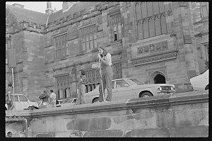 Item 0171: Tribune negatives including Tertiary Education Assistance Scheme strike rally, University of Sydney and Dave McKnight rock climbing, May 1977