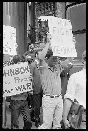 Item 062: Tribune negatives including anti-Vietnam War protest, Martin Place, Sydney, and anti-Vietnam War meeting, Sydney Town Hall, New South Wales, December 1965