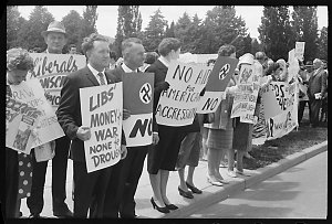 Item 089: Tribune negatives of anti-Vietnam War demonstration during visit of Hubert Humphrey, Canberra, Australian Capital Territory, February 1966