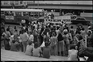 Item 672: Tribune negatives including abortion demonstration, meeting of pro-life and pro-choice women in the street, a pro-abortion conference, n.d.