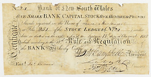 Item 650a: Bank of New South Wales, share certificate, sixty pounds, 1818